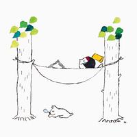ハンモックで昼寝(イラスト)