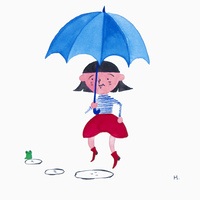 傘をさす女性(イラスト)