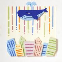 クジラと町並(イラスト)