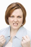 Portrait of mature woman, grimacing