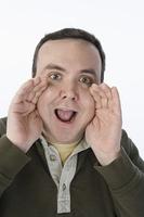 Portrait of mid-adult man shouting