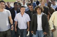 Crowd of male protestors