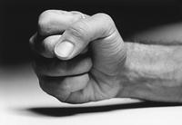 Fist, (close-up), (b&w)