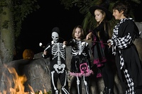 Girls and boys (7-9) wearing Halloween costumes, cooking marshmallows on campfire