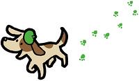 足跡を付ける犬