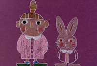 ウサギと女性