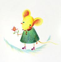 花を持つネズミ