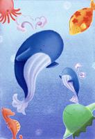 クジラと海の動物