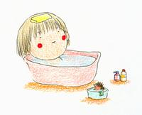 風呂に入る女の子とハリネズミ