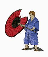 番傘ヲ持つ男性