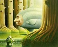 森を泳ぐ人面魚