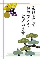 扇とひょうたんと松(はがきデザイン)