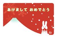 ウサギと雪の結晶(はがきデザイン)