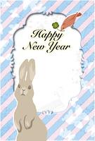 ウサギとトリ(はがきデザイン)