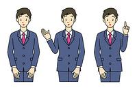 スーツ姿の男性-3ポーズ