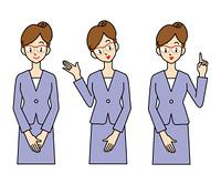 スーツ姿の女性-3ポーズ
