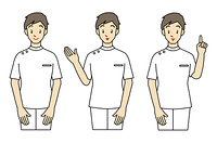 白衣の男性-3ポーズ