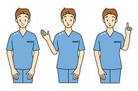 手術着の男性-3ポーズ