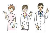 医師と看護師-3ポーズ