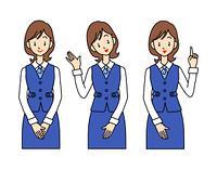 受付の女性社員-3ポーズ
