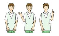 男性の介護士-3ポーズ
