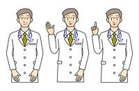 男性の医師-3ポーズ