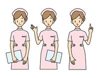 女性の看護師-3ポーズ