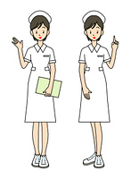 女性の看護師-2ポーズ