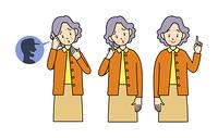 高齢の女性-3ポーズ