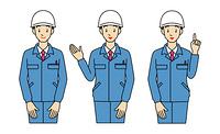 作業服とヘルメット姿の男性