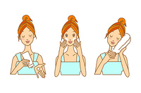 洗顔している女性-3ポーズ