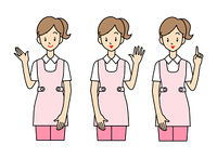 女性の介護士-3ポーズ