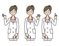女性の医師-3ポーズ