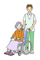 車いすの女性と男性の看護師