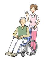 車いすの男性と女性の看護師