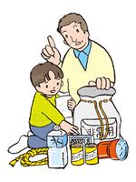 防災袋の点検する親子