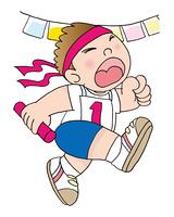 運動会で走る子