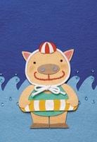 ブタの海水浴イラスト