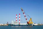 港湾の護岸作業