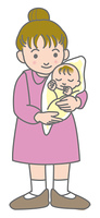 新生児とお母さん