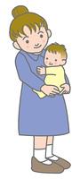 乳児とお母さん
