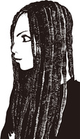 girl01モノクロームイラスト