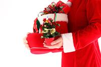クリスマスツリーとプレゼントを持つ女性サンタ