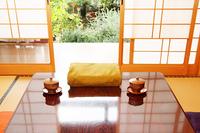 日本の住宅 和室の庭と風呂敷贈答品