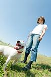飼い主と一緒に散歩をする犬