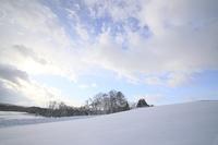 雪景色と朝焼け