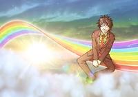 虹の上で休憩する男性