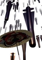 ミサイルを防ぐ和傘