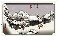 広重 東海道五拾三次 蒲原夜之雪