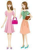若い女性 全身 スカート